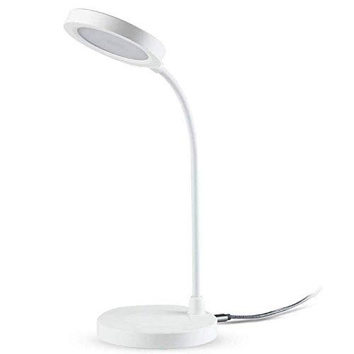 Lámpara de escritorio LED USB con cargador inalámbrico, lámpara de mesa táctil de 3 niveles de brillo, inclinación libre de 360, compatible con la mayoría de los dispositivos habilitados para Qi, colo