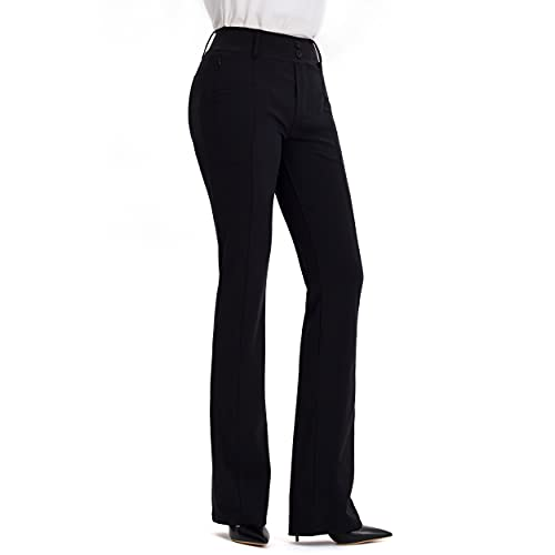 XELORNA Dress Pants for Women Work Bootcut Yoga Pants Stretchy Business Casual Slacks with 6 Pockets, Black, XL