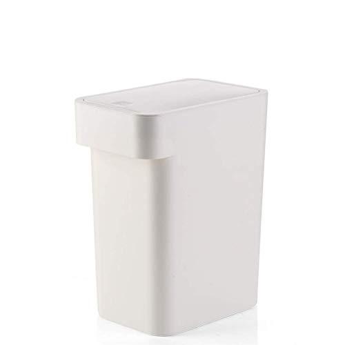 MotBach Bote de Basura Estrecha de Gran tamaño Tipo de Basura Papelera de Basura Plástico Dustbin Cocina Cuarto de baño Bandeja de Basura Caja de Almacenamiento Cesta de desechos (Color : White)