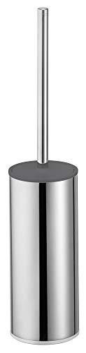 KEUCO Toilettenbürsten-Garnitur aus Metall chrom und Kunststoff grau, WC-Bürste mit Halterung und Deckel, Standmodell für Bad und Gäste-WC, Moll