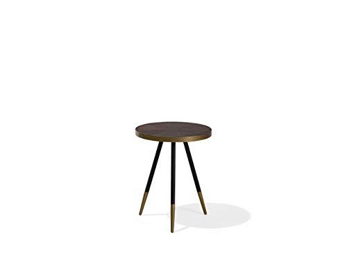 Beliani Tavolino in Color Noce Scuro con Gambe in Nero/Oro Ramona