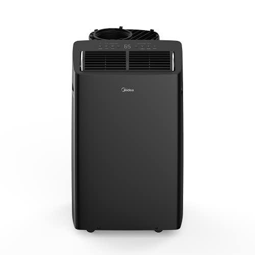MIDEA MAP14HS1TBL Duo Ultra Smart HE Inverter Portable Air Conditioner, Dehumidifier, Fan, 14,000 BTU with Heater (12,000 BTU SACC), Black