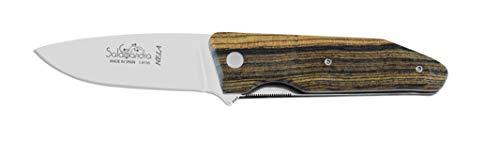 Navaja Salamandra HELA 190051 empuñadura de bocote 10,5 cm. Hoja de Acero 1.4116 de 7,5 cm. Herramienta para Caza, Pesca, Supervivencia y Bushcraft. Hecho en Albacete + Portabotellas de regalo