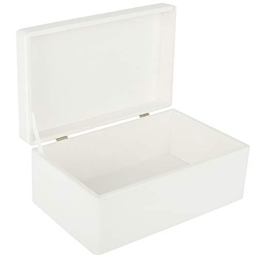 Creative Deco Blanca Grande Caja de Madera para Juguetes | 30 x 20 x 14 cm (+/-1cm) | con Tapa Cofre para Decorar | para Almacenar Documentos, Objetos de Valor, Herramientas
