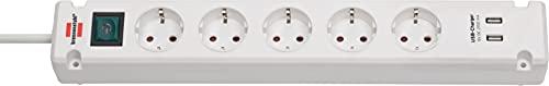 Brennenstuhl Bremounta Steckdosenleiste 5-fach mit USB-Ladefunktion (Mehrfachsteckdose mit 90 Grad Steckdosen, Steckerleiste mit Befestigungsmöglichkeit und 3m Kabel) weiß