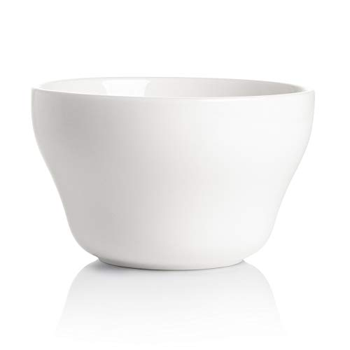 Sweese Porcelain 107.000 Bouillon Cup - 8 Ounce Dessert Bowl for Cottage Cheese, Fruit, Crackers, Salsa, Little Size Dishes - Set of 1, White