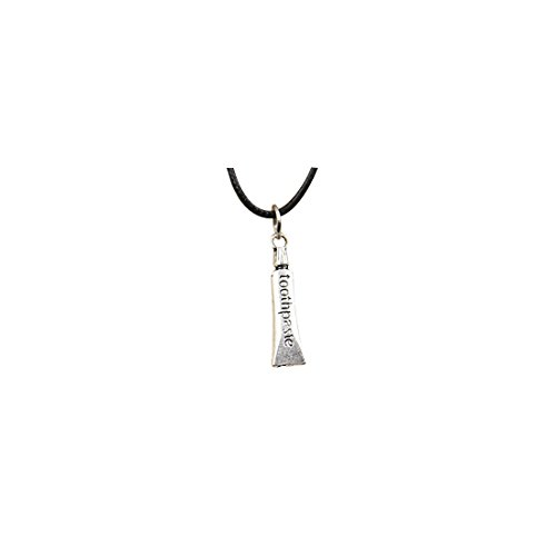 Mode Tibetaans Zilver Hanger tandpasta Ketting Choker Bedel Zwart Lederen ketting