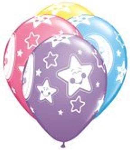 11 Inch Baby Moon & Stars Balloons Assortment - 100CT by Qualatex