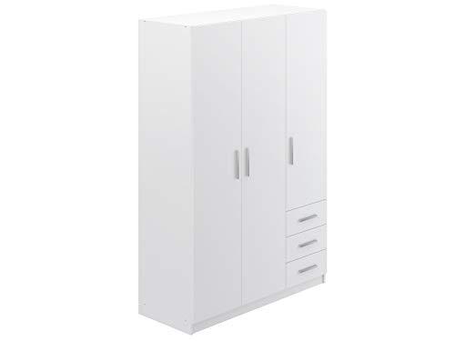 Movian Indre moderner 3-türiger Kleiderschrank mit 3 Schubladen, 51 x 129 x 191, Weiß
