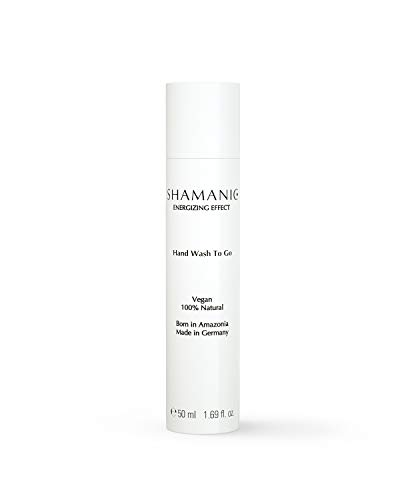 SHAMANIC Hand Wash To Go, 50ml Hand-Hygienemittel, gesunde Pflege für trockene Haut mit angenehmem Duft, Leave-on Liquid Hand Cleanser, vegane Naturkosmetik, Made in Germany