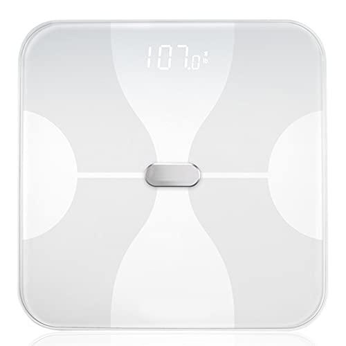 Básculas de peso corporal, Báscula de grasa corporal, Analizador de composición de báscula inteligente Bluetooth de alta precisión de 0.1 lb, Báscula de IMC de peso digital con pantalla LCD,Blanco