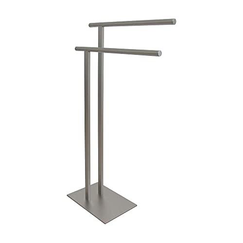 Kingston Brass SCC6038 Edenscape Double L Shape Pedestal Towel Holder, Brushed Nickel