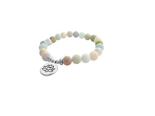 Lucky Buddhist Matt Amazonita Lotus Pulsera + Colgante/Collar! - Tibetan Lucky Yoga Amuleto para Hombres y Mujeres - Muñequera Ajustables de Amistad - Hechas a Mano - Cuentas de Piedra de 8 mm