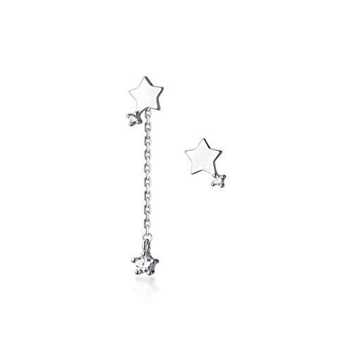 Vvff Pendientes De Botón De Estrella Asimétricos Con Borla De Circonita Y Pavé De Plata Para Mujer, Regalo De Joyería Romántica Para Niña