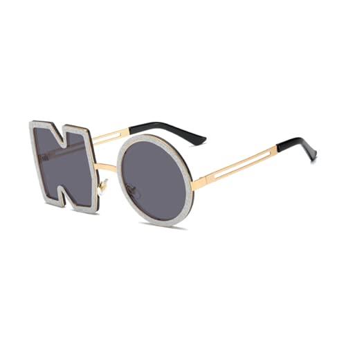Letra NO gafas de sol de diseño irregular sin montura para hombres/mujeres UV400 Streetwear Eyewears, negro (negro 2), Talla única
