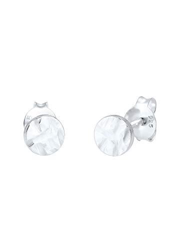 Elli Ohrringe Damen Ohrstecker rund (5mm) mit gehämmerter Oberflächen aus 925 Sterling Silber, Damen Kreis Ohr Stecker im Geo Organic Design, Ohrstecker-Set für Frauen