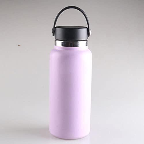 Botella de agua de matraz 2.0 de boca ancha con tapa de paja Acero inoxidable y boca ancha aislada al vacío con tapa flexible a prueba de fugas-China, 40 oz, tapa flexible 3