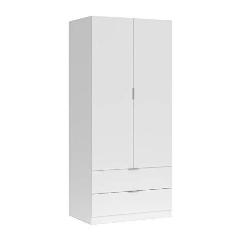 Habitdesign LCX222O - Armario ropero 2 Puertas y 2 cajones, Armario Dormitorio, Acabado en Blanco, Medidas: 81 cm (Largo) x 181 cm (Alto) x 52 cm (Fondo)