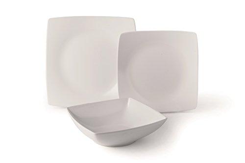 Excelsa Eclipse Servizio di Piatti quadrati, 18 Pezzi, Ceramica, Bianco