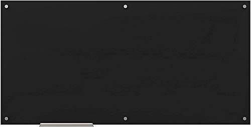 U Brands Glass Dry Erase Board, 70 x 35 Inches, Black Non-Magnetic Surface, Frameless