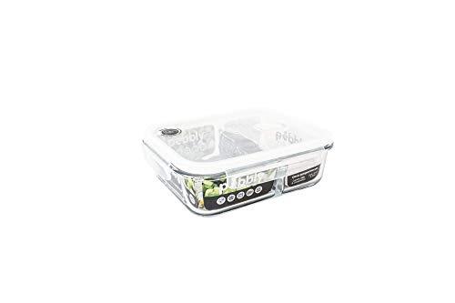 PEBBLY - PKV950SRB - Boite de conservation en verre rectangulaire compartimentée 950 ml pour cuire, conserver, transporter et réchauffer - 100% hermétique - idéal lunchbox