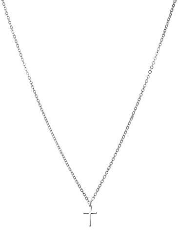 day.berlin Kreuzkette Damen Cross fine in Silber mit Anhänger kleines Kreuz, filigrane Halskette Edelstahl, Kette 45-50cm variable Länge
