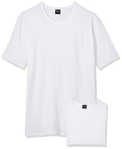 BOSS T-Shirt RN 2P CO/EL-50325407 Camiseta, Blanco (White), Medium (Pack de 2) para Hombre