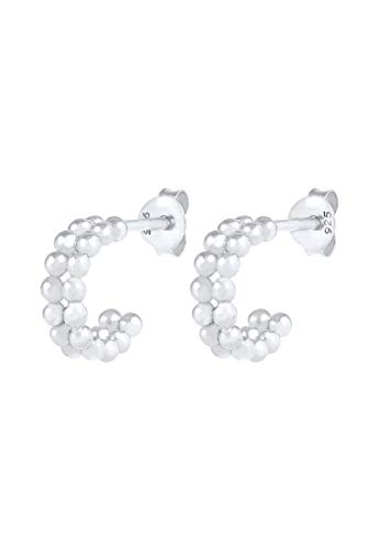 Elli Earrings Ladies Creole Mini Ball Look Basic Minimal in 925 Sterling Silver