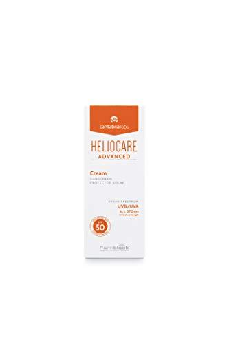 Heliocare Advanced Cream SPF 50 Crema Solar Facial, Nutre e Hidrata, sin Residuo Blanco, sin Efecto Máscara, Pieles Normales o Secas, No Comedogénica, 50 ml