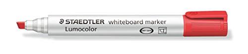 Staedtler Lumocolor 351 B-2 Whiteboard-Marker (Keilspitze ca. 2 oder 5 mm Linienbreite, hohe Qualität, trocken und rückstandsfrei abwischbar von Whiteboards, Kartonetui mit 10 Stück) rot