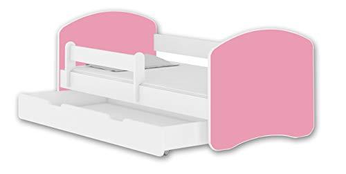 Letto per bambino Cameretta per bambino con materasso Lettino bambini ACMA II (Bianco - Rosa, 180x80 + Cassetto)