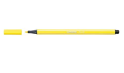 Caneta Hidrográfica Pen 68/24, Stabilo, Amarelo Neon, Caixa C/10 Unidades