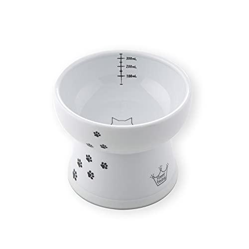 猫壱 ハッピーダイニング 脚付ウォーターボウル 猫柄 ハイタイプ シリコン付き