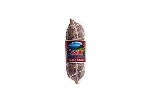 Herbst Angebot! Bergsalami Montanaro Wolfino aus dem Friaul - Leicht geräucherte Salami am Stück aus Italien 270 gramm Wolf Sauris
