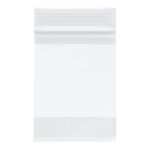 "Plymor Heavy Duty Plastic Reclosable Zipper Bags w/White Block, 4 Mil, 3"" x 4"" (Pack of 100)"