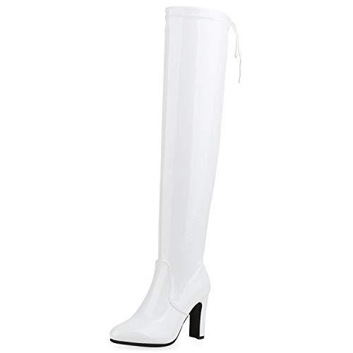 SCARPE VITA Damen Stiefel Overknees Lack Boots Blockabsatz Schuhe High Heels Langschafstiefel 185560 Weiss 38