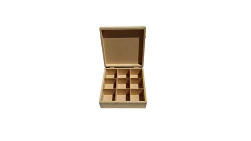 Artesanías Ramírez - Caja de madera (MDF) para te con 9 divisiones
