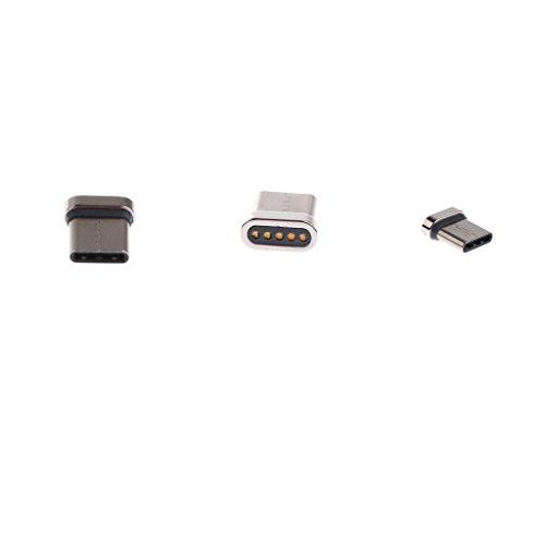 Sharplace 3pcs Magnética USB Conector Cable de Carga magnético Tipo C para Dispositivos USB de c, Android–Plata