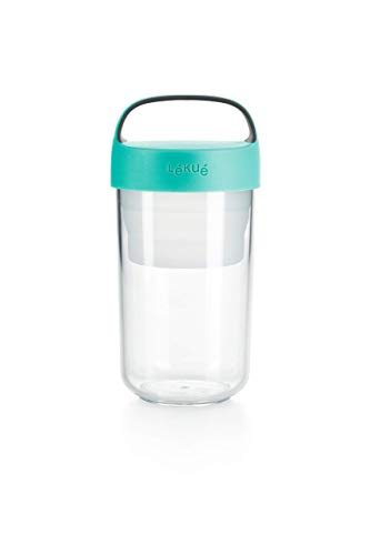 Lékué - Recipiente hermético para transportar alimentos, 600 ml, Plástico, Turquesa