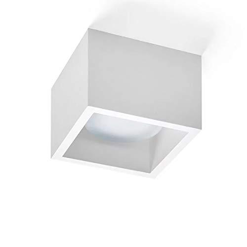 Plafoniera faretto quadrato da soffitto gesso bianco pitturabile da interni per lampadina gx53 led intercambiabile