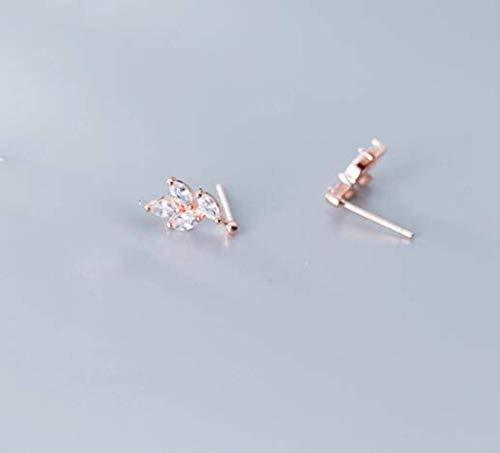 WOZUIMEI S925 Estilo de Arte de Plata Delicados Y Modernos Pendientes de Hojas de Diamantes Completos Arte Femeninooro rosa