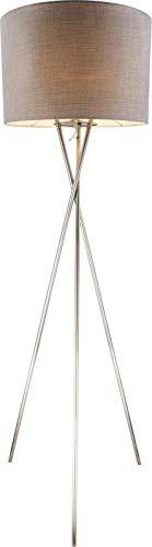 Lámpara de pie para salón, color gris, pantalla de tela, 21 cm, trípode (pantalla textil, lámpara de salón, retro, altura 160 cm)
