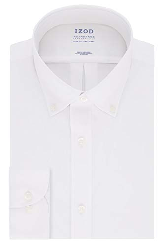 IZOD mens Slim Fit Stretch Cool Fx Cooling Collar Solid Dress Shirt, New White, 16 -16.5 Neck 34 -35 Sleeve Large US