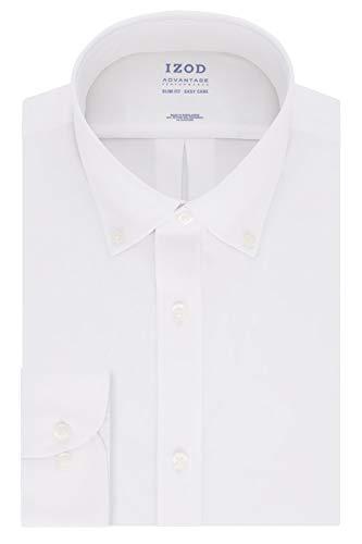 Izod Camisa de Vestir para Hombre Ajustada, elástica Cool FX Cuello de enfriamiento sólido, Blanco, 14'-14.5' Cuello 32'-33' Manga (S)