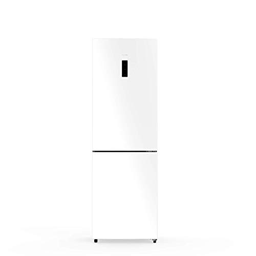 UNIVERSALBLUE | Frigorífico Combi 185 cm Cristal Blanco | Eficiencia energética A++ | Sistema No Frost | con congelador | Sistema silencioso | Capacidad Total 320L