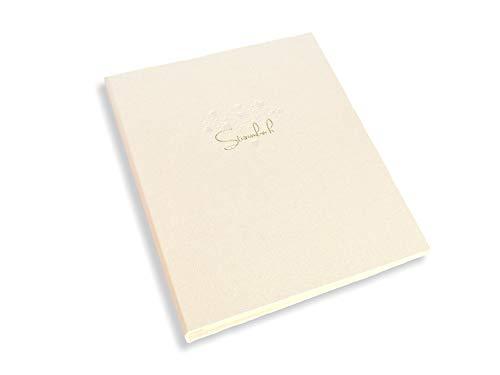 Stammbuch der Familie, Buch für Hochzeitsurkunde, Familienstammbuch für Urkunden, 4-Loch-Ringbindung, 20 x 23 cm, creme, mit Goldprägung und Klarsichthüllen, tolles Geschenk der Brauteltern