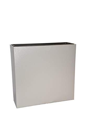 Raumteiler City aus Metall, mit Einsätzen, hellgrau - Größe (LxBxH): 61x21x58 cm, Pflanzkübel, Trennelement, Pflanztrog
