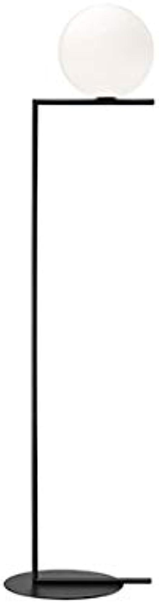 Flos ic f2 lampada da terra e27 205w in vetro opale nera F3174030
