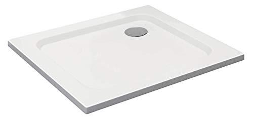 VILSTEIN Duschwanne 80 x 90 x 5 cm, sehr Flach, Duschtasse mit Gefälle, Sanitär-Acryl, Glasfaser verstärkte Wanne, DIN-Anschluss, Form: Rechteck, Weiß, Schneeweiß Hochglanz - ohne Ablaufgarnitur