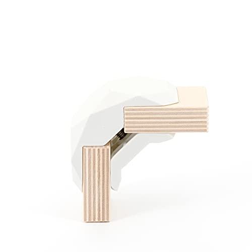 PlayWood Kit de Construcción de 20 piezas en Ángulo Recto, Pinzas de Plástico con Tornillo de Acero Inoxidable, Ideal para Bricolaje, Estantes Modulares de Madera (Rojo) (blanco)